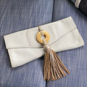Alexis Hudson Pebbled White Leather Tassel Clutch